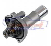 Термостат в сборе с корпусом алюминиевый длинный фланец неоригинал для Ford 1.8-2.0-2.3-2.5 Duratec HE