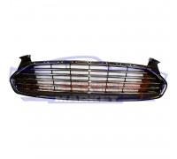 Решетка переднего бампера центральная хром полоски неоригинал для Ford Fusion USA c 13-16 , Mondeo 5 c 14-19 (под бампер Европа)