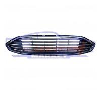 Решетка переднего бампера центральная хром полоски неоригинал для Ford Fusion USA c 13-16 , Mondeo 5 c 14-19 (под бампер USA)
